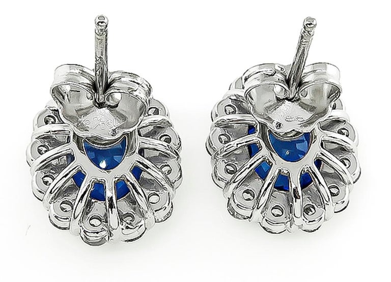 Blue Sapphire Diamond White Gold Halo Earrings In Good Condition For Sale In New York, NY