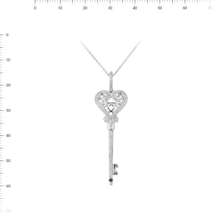 Necklace White Gold 14 K   Diamond 74-RND-0,26-G/VS1A Sapphire 1-0,02ct  Weight 4.45 grams Length 42 cm  With a heritage of ancient fine Swiss jewelry traditions, NATKINA is a Geneva based jewellery brand, which creates modern jewellery masterpieces