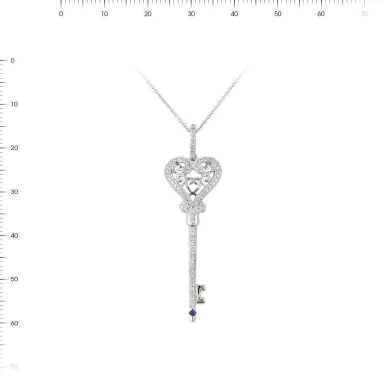 Blue Sapphire Diamond White Gold Necklace In New Condition For Sale In Montreux, CH