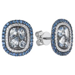 Blue Sapphire Diamond White Gold Stud Earrings