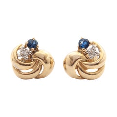 Blue Sapphire Diamond Yellow Gold Love Knot Earrings