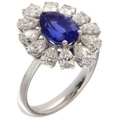 Blauer Saphir Diamanten 18 Karat Gold Blumen-Ring