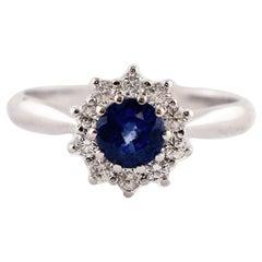 Blue Sapphire, Diamonds, 18 Karat White Gold Engagement Ring