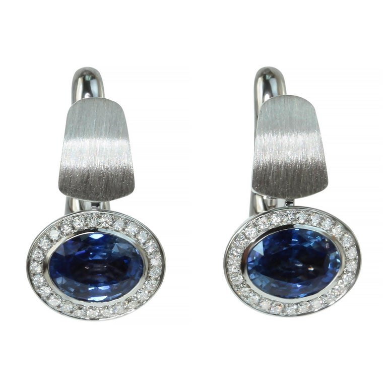 Blue Sapphire Diamonds Colored Enamel 18 Karat White Gold Kaleidoscope Earrings  Please take a look at one of our trade mark texture in Kaleidoscope Collection -