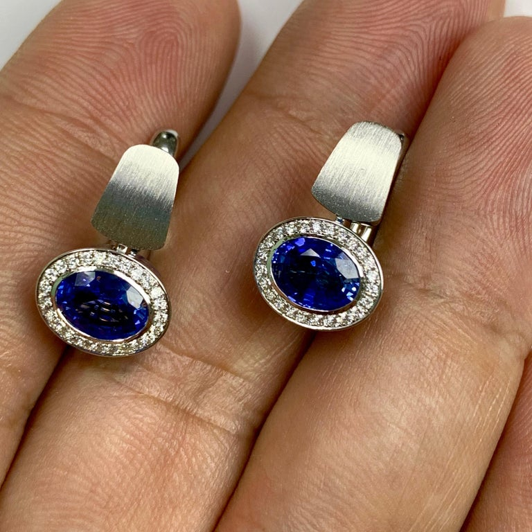 Art Deco Blue Sapphire Diamonds Colored Enamel 18 Karat White Gold Kaleidoscope Earrings For Sale