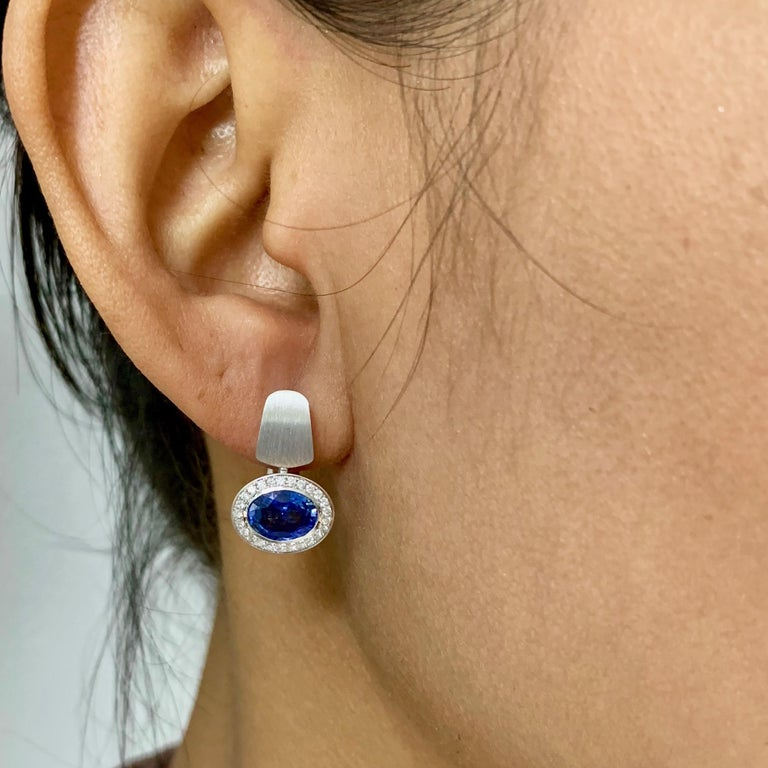 Blue Sapphire Diamonds Colored Enamel 18 Karat White Gold Kaleidoscope Earrings For Sale 1