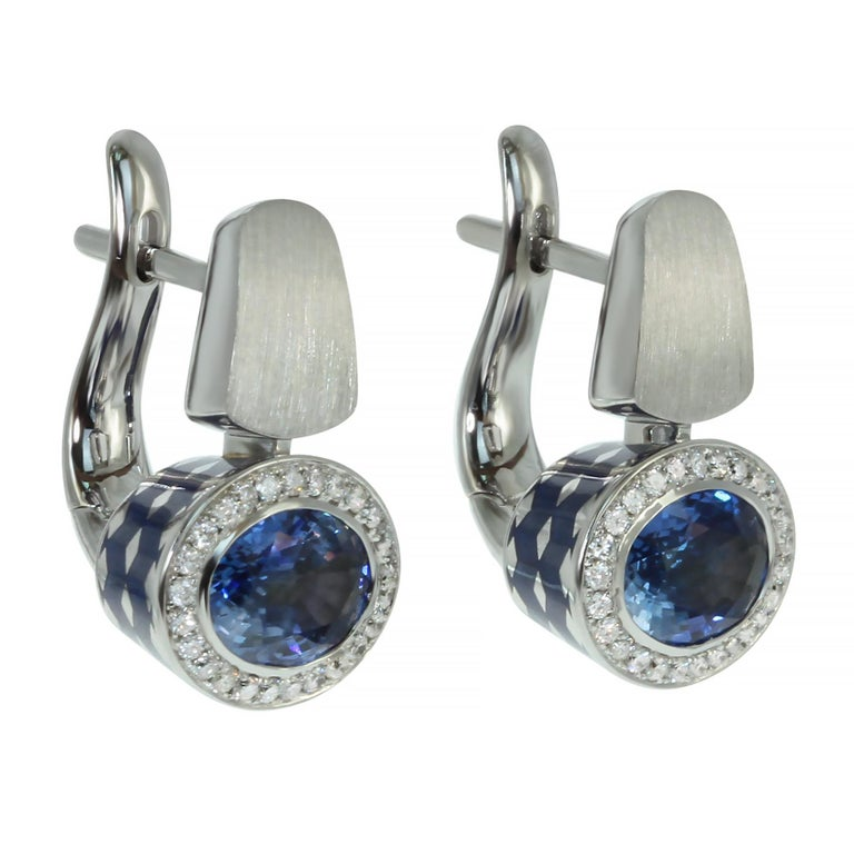 Blue Sapphire Diamonds Colored Enamel 18 Karat White Gold Kaleidoscope Earrings For Sale