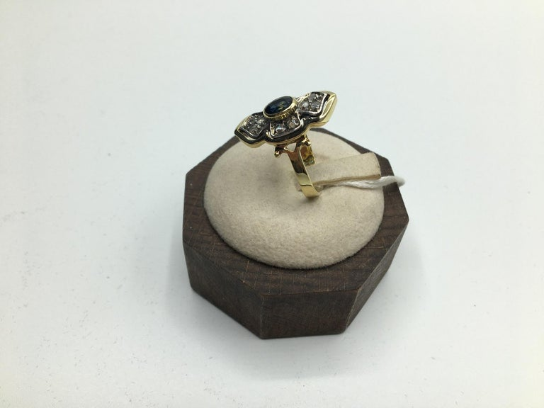 Women's Blue Sapphire Diamonds Gold Cocktail Ring, 1980s For Sale