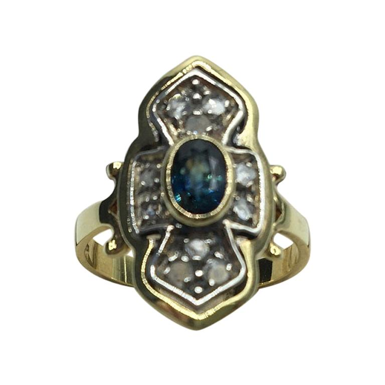 Blue Sapphire Diamonds Gold Cocktail Ring, 1980s For Sale
