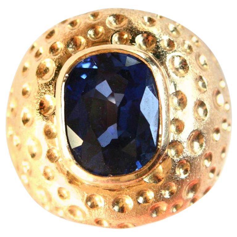 Blue Sapphire Dome Cocktail Ring 18 Karat Gold
