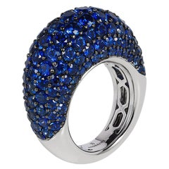 Blue Sapphire Dome Ring Cocktail 18 Karat White Gold Andreoli