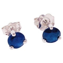 Blue Sapphire Earrings 14 Karat White Gold Blue Sapphire Stud Earrings .66 Carat