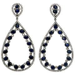 Blue Sapphire Earrings 8.5 Carat with Diamonds 2.1 Carat