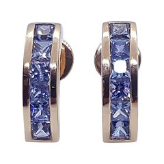 Blue Sapphire Earrings Set in 18 Karat Rose Gold Settings
