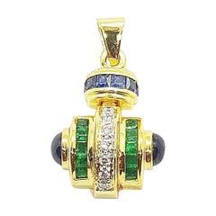 Blue Sapphire, Emerald and Diamond Pendant Set in 18 Karat Gold Settings