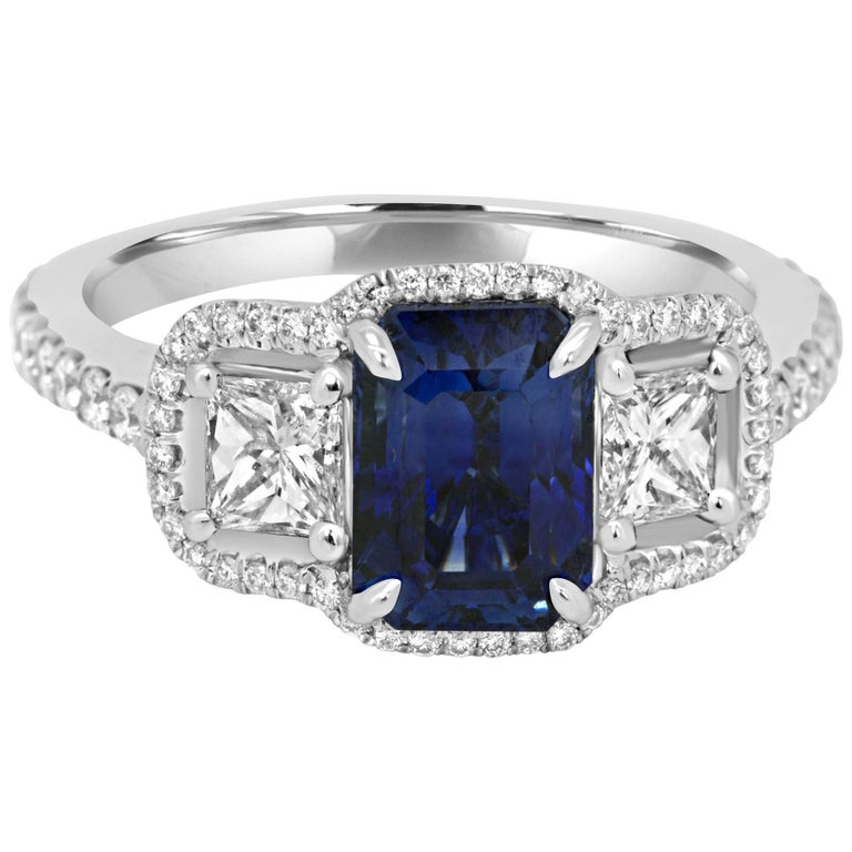 c5fcbd8b6e4e3f Blue Sapphire Emerald Cut Diamond Three-Stone Halo Gold Ring For Sale