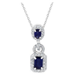 Blue Sapphire Emerald Cut White Diamond Halo Gold Drop Pendant Chain Necklace
