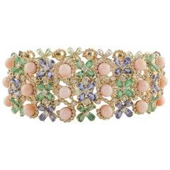 Blue Sapphire Emerald Diamond Coral Gold Flower Bracelet