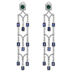 Blue Sapphire Emerald Diamond Halo Gold Dangle Drop Chandelier Clip-On Earring
