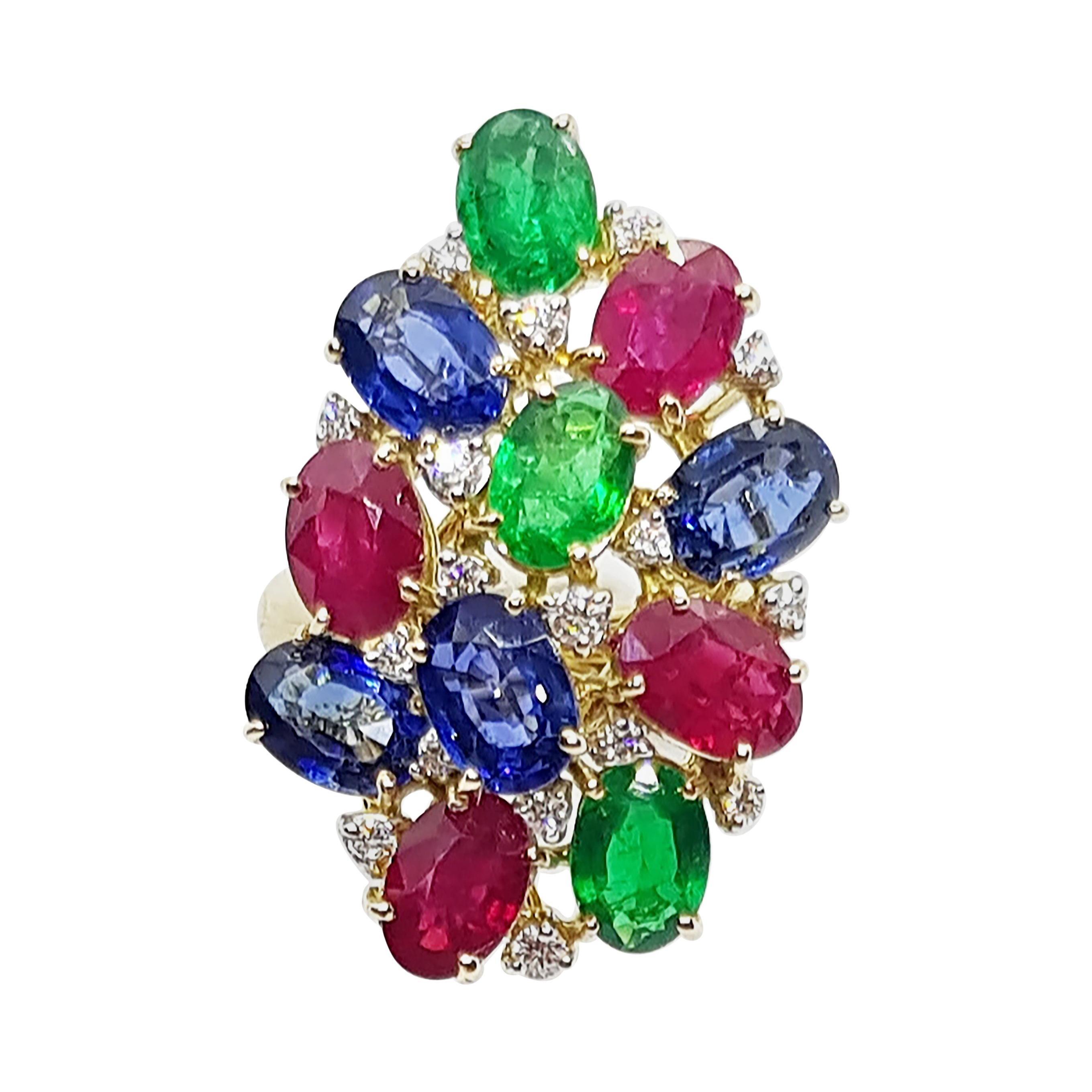 Blue Sapphire, Emerald, Ruby and Diamond Ring Set in 18 Karat White Gold Setting