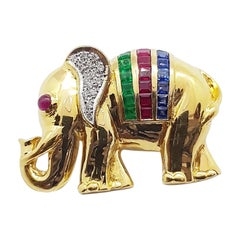 Blue Sapphire, Emerald, Ruby with Diamond Elephant Brooch/Pendant in 18k Gold