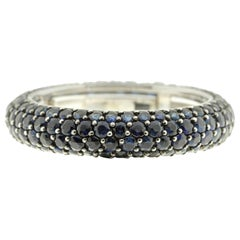 Blue Sapphire Eternity Band in 18 Karat White Gold
