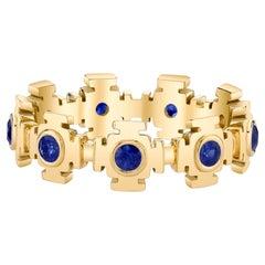 Blue Sapphire Eternity Gold Ring