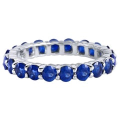 Blue Sapphire Eternity Ring 18 Karat White Gold