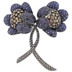 Blue Sapphire Fancy Diamond Gold Flower Brooch Pin