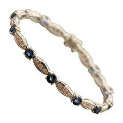 Blue Sapphire Fancy Pink Diamond Gold Bracelet