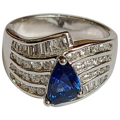 Blue Sapphire Fancy Shape Ring Set in Platinum with Diamonds