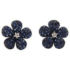 Blue Sapphire Flower Earrings in 18k White Gold center diamonds
