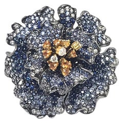 Blue Sapphire Flower Ring Diamond Andreoli