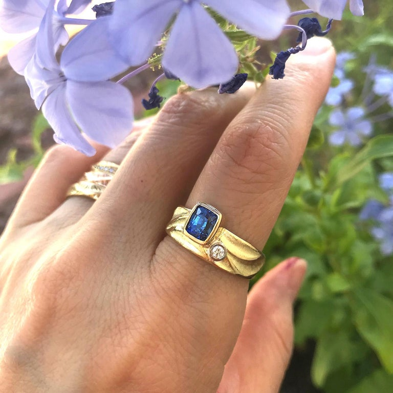 Cushion Cut Blue Sapphire Geo Ring in 18 Karat Yellow and Palladium White Gold Side Diamond For Sale