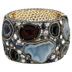 Blue Sapphire Geode Diamond Bracelet Cuff
