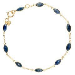 Blauer Saphir Gold Armband 4,83 Karat 18 Karat
