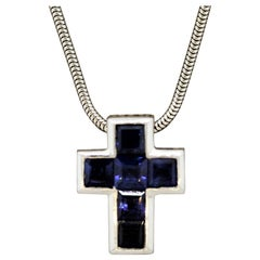 Blue Sapphire Gold Cross Pendant Necklace