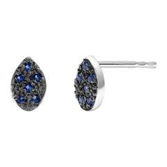 Blue Sapphire Gold Stud Earrings Blacken