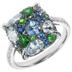 Blue Sapphire Green Tsavorite White Diamond White Gold Three-Stone Cabochon Ring