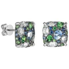 Blue Sapphire Green Tsavorite White Diamond White Gold Three-Stone Stud Earrings