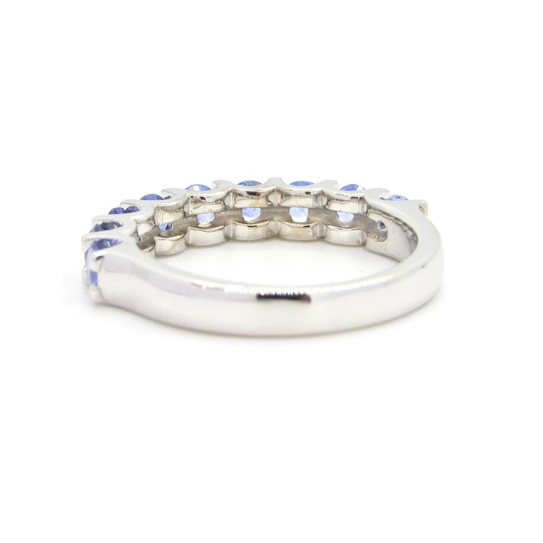 Contemporary Blue Sapphire Half Eternity Band 18 Carat White Gold Ring For Sale