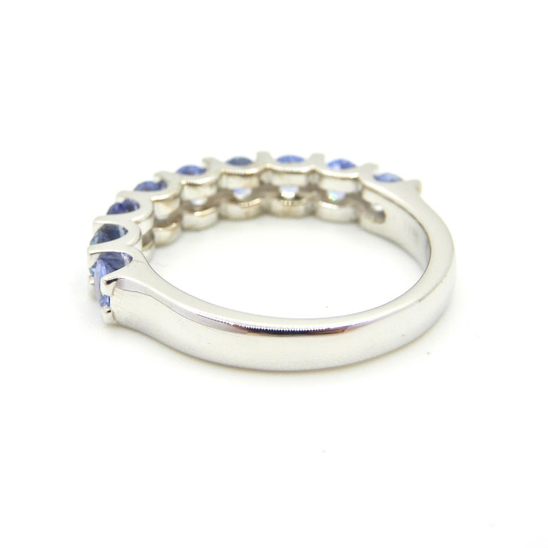 Round Cut Blue Sapphire Half Eternity Band 18 Carat White Gold Ring For Sale