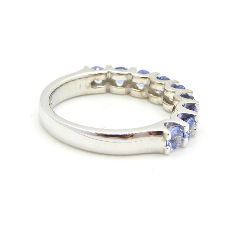 Blue Sapphire Half Eternity Band 18 Carat White Gold Ring In Excellent Condition For Sale In Brisbane, QLD