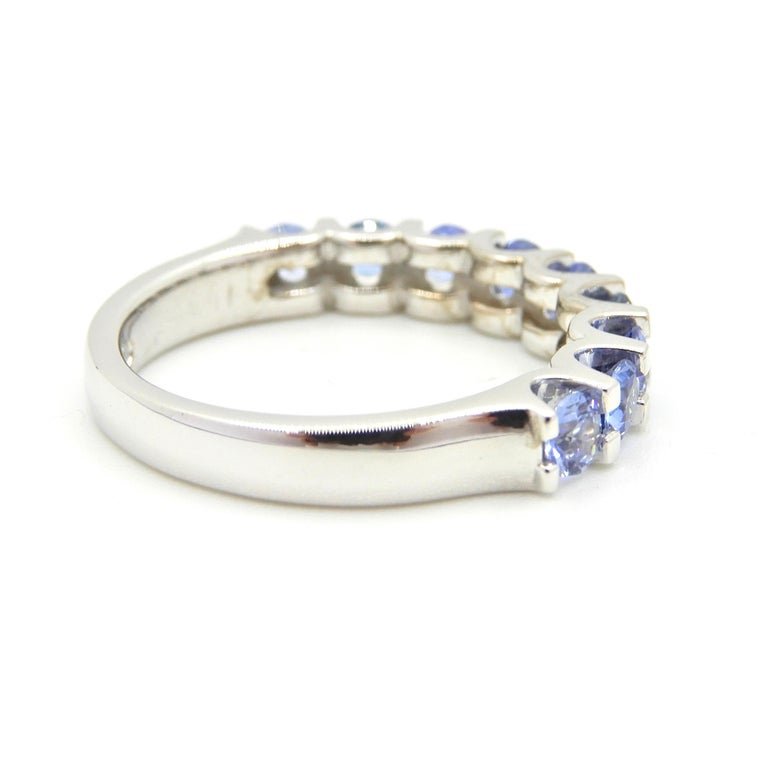 Women's Blue Sapphire Half Eternity Band 18 Carat White Gold Ring For Sale