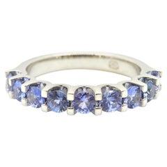 Blue Sapphire Half Eternity Band 18 Carat White Gold Ring