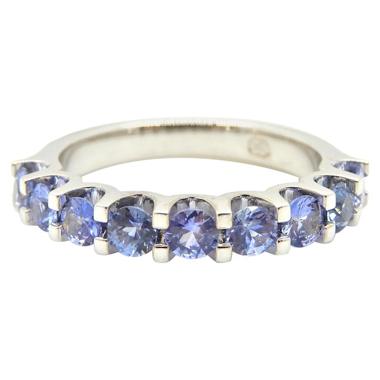 Blue Sapphire Half Eternity Band 18 Carat White Gold Ring For Sale
