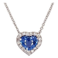 Blue Sapphire Heart Shape Diamond Halo Pendant 1.55 Carat 18 Karat White Gold
