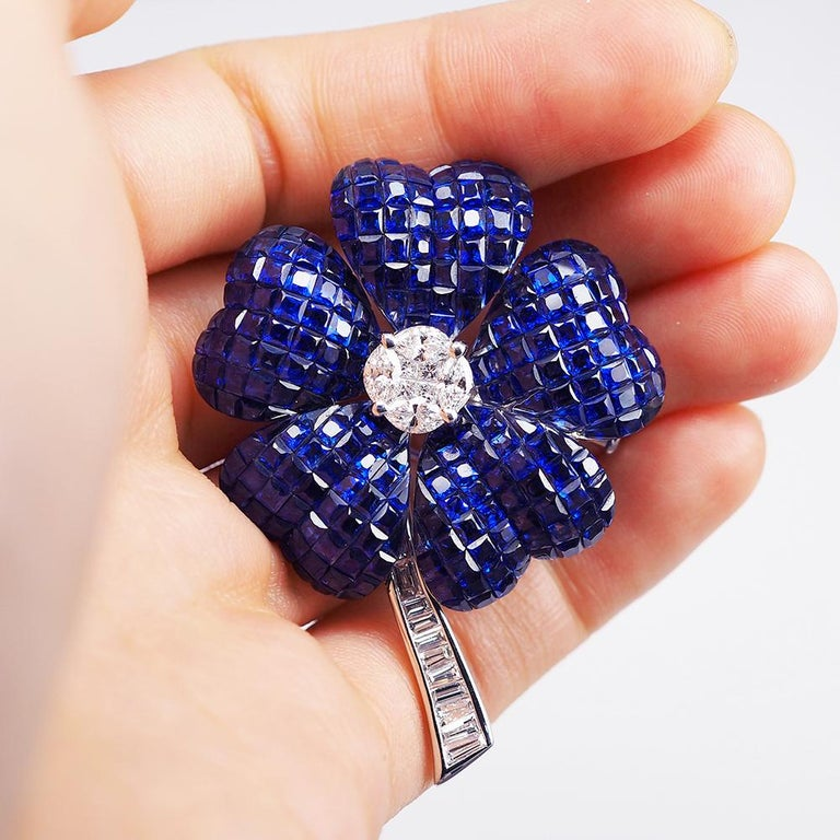 Modern Blue Sapphire Invisible Flower Brooch For Sale