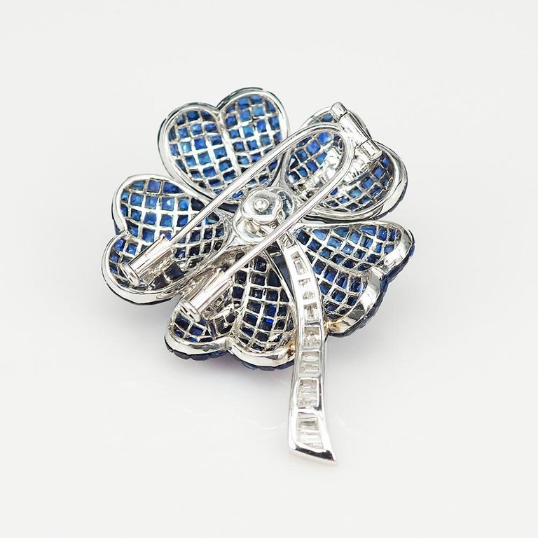 Princess Cut Blue Sapphire Invisible Flower Brooch For Sale