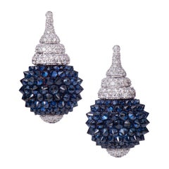 Blue Sapphire Lamp Reverse Setting Diamond Earring